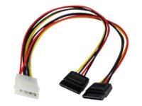 StarTech.com 12in LP4 to 2x SATA Power Y Cable Adapter - strömadapter